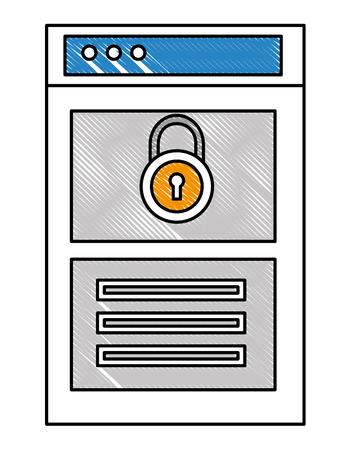 website social media security protection data information vector illustration drawing