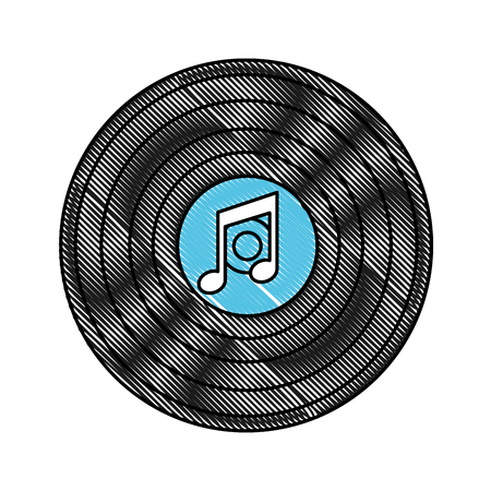 disk vinyl classic music retro vector illustration drawing