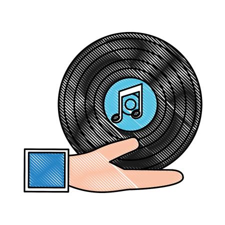 hand holding vintage vinyl music vector illustration drawing