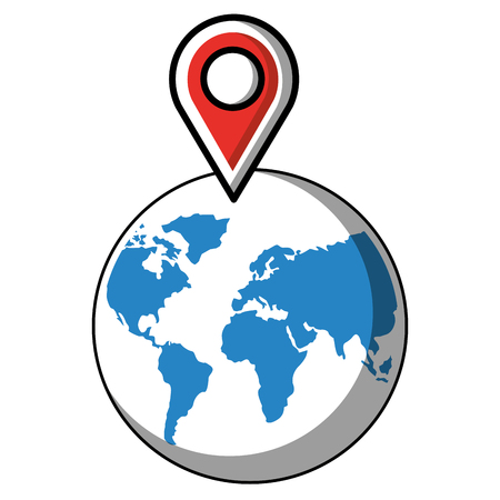 world planet earth with pin pointer vector illustration design