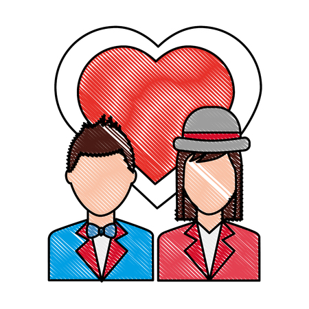 couple with clothes elegant and heart in love vector illustration drawing