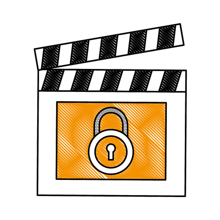 movie film clapper board protection padlock vector illustration drawing Imagens - 99737934