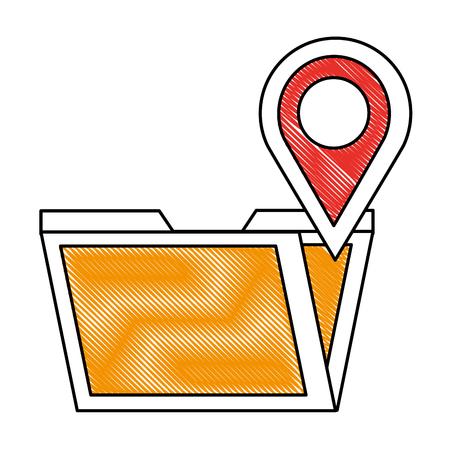 folder data digital pointer map location vector illustration drawing Illustration
