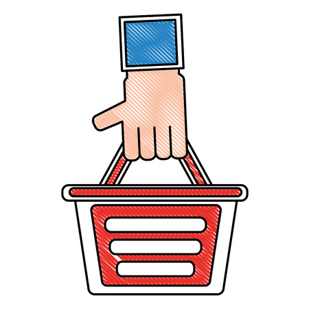 hand holding shopping basket online store concept vector illustration drawing