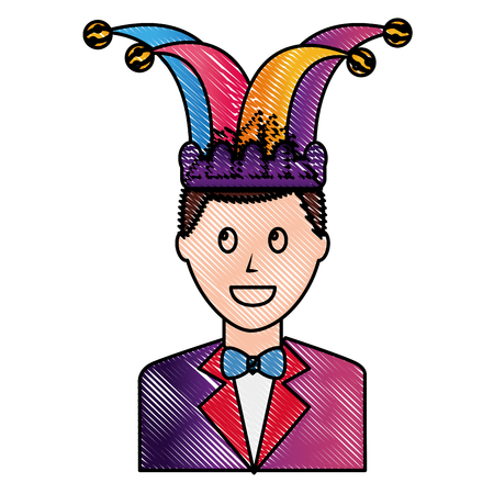 happy man elegant with suit and bowtie jester hat vector illustration drawing