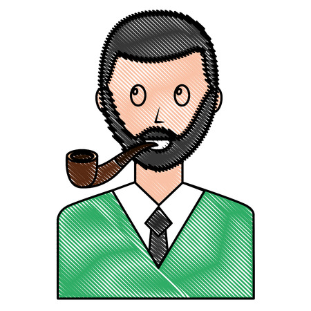 portrait bearded man with smoking pipe vector illustration drawing Vettoriali