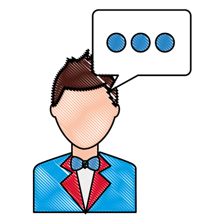 happy man elegant with suit and bowtie and speech bubble vector illustration drawing Illustration