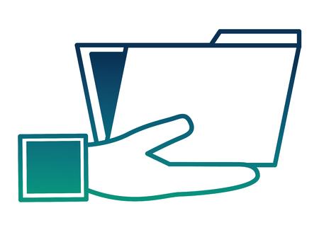 hand holding folder document archive vector illustration  degraded color