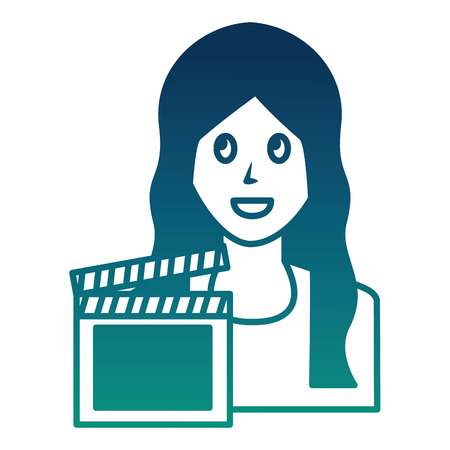 woman avatar character film clapperboard vector illustration  degraded color