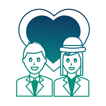 couple with clothes elegant and heart in love vector illustration  degraded color