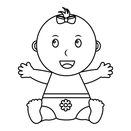 cute little baby girl sitting with diaper vector illustration outline Illustration