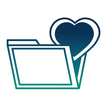 folder file heart in love romantic social media vector illustration  degraded color Illustration
