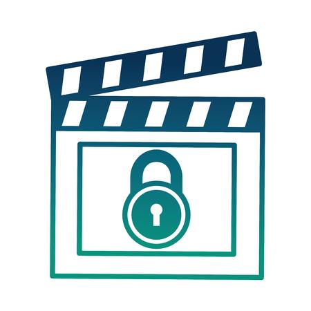 movie film clapper board protection padlock vector illustration  degraded color