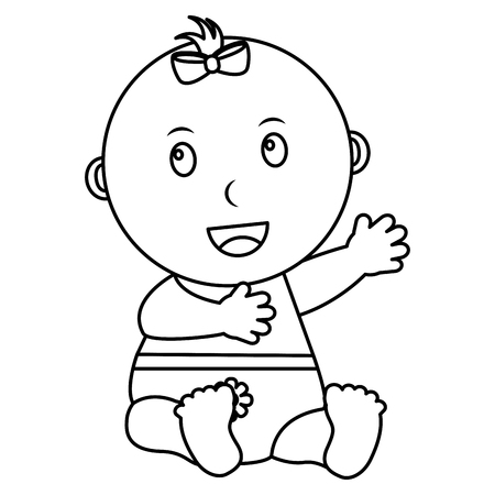 cute little baby girl sitting with diaper vector illustration outline 向量圖像