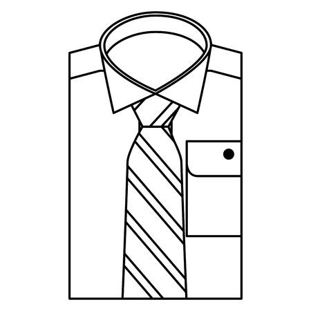folded shirt necktie accessory male vector illustration outline