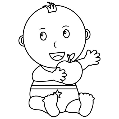 cute little baby boy sitting with apple vector illustration outline