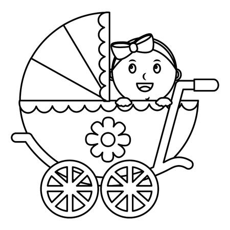 Linda dulce niña en cochecito de seguridad esquema de ilustración vectorial Foto de archivo - 99749532