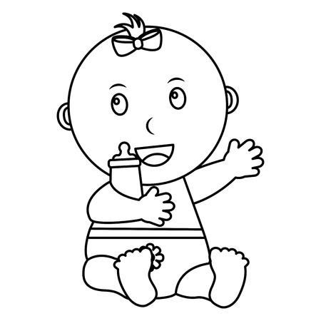 Nettes kleines Baby, das Flaschenmilchvektor-Illustrationsentwurf halten sitzt Standard-Bild - 99749533