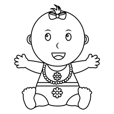 Linda niña sentada con collar esquema de ilustración vectorial