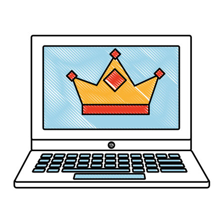 laptop with crown royalty on screen vector illustration drawing Ilustração