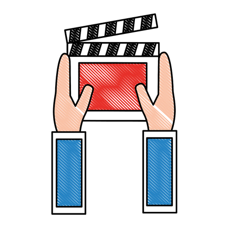 hands holding clapper board movie vector illustration drawing  イラスト・ベクター素材