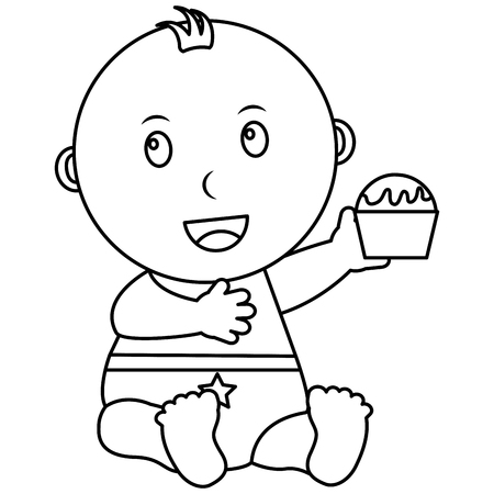 cute little baby boy sitting holding cupcake vector illustration outline