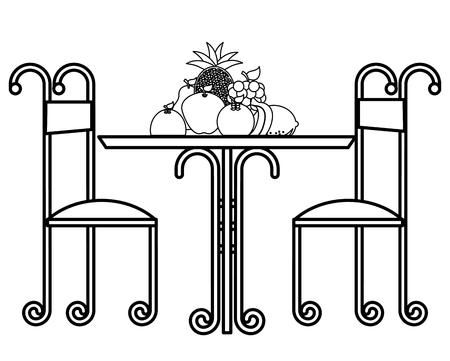 vintage table delicious fruits and chairs vector illustration outline