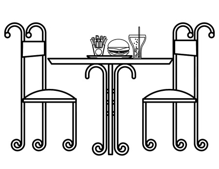 vintage restaurant table fast food and chairs vector illustration outline