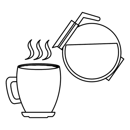 hot coffee cup and maker beverage vector illustration outline