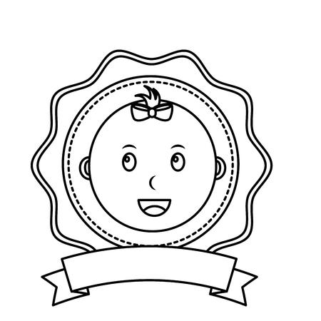 label baby shower face little baby girl vector illustration outline