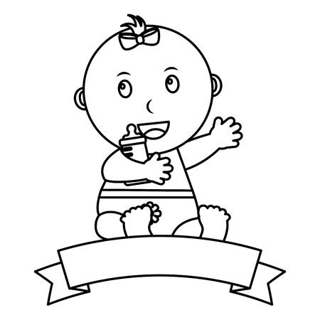Nettes kleines Baby, das Flaschenmilchemblemvektor-Illustrationsentwurf halten sitzt Standard-Bild - 99749563