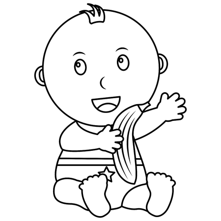 cute little baby boy sitting with a banana vector illustration outline