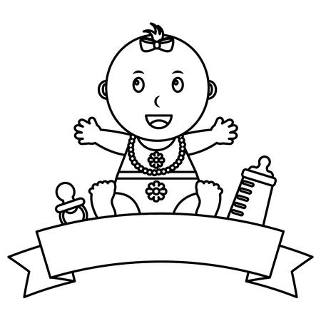 cute little baby girl sitting bottle milk pacifier emblem vector illustration outline