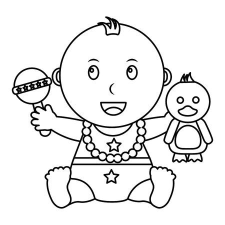 cute little baby boy sitting with duck and rattle toys vector illustration outline