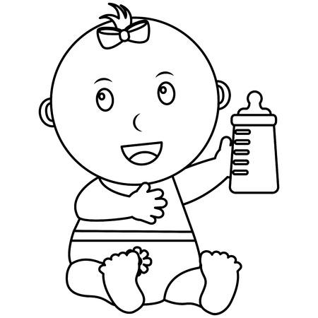 cute little baby girl sitting holding bottle milk vector illustration outline