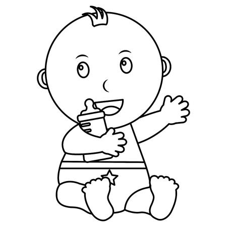 cute little baby boy sitting holding bottle milk vector illustration outline Ilustração