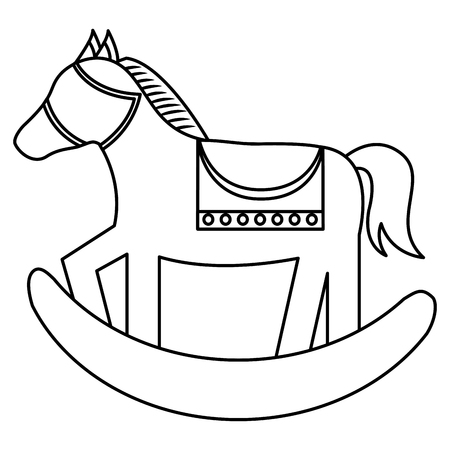 wooden rocking horse toy play childs vector illustration outline