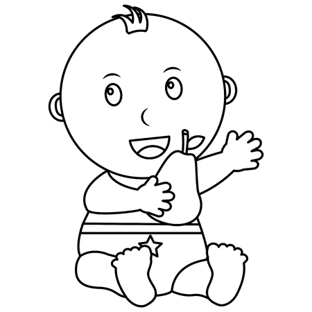 cute little baby boy sitting holding a pear vector illustration outline