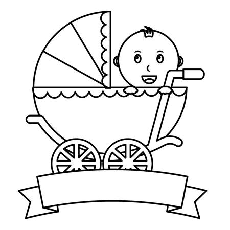 cute little boy in pram transport emblem baby shower vector illustration outline Ilustrace