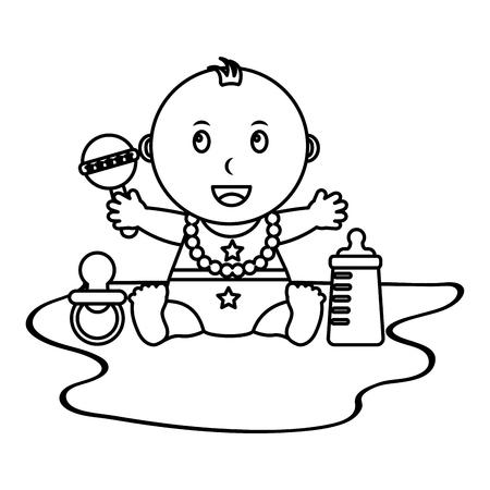 contorno di illustrazione di vettore di piccolo sonaglio e bottiglia di ciuccio bambino sveglio sveglio Vettoriali