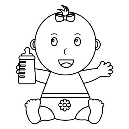 Nettes kleines Baby, das Flaschenmilchvektor-Illustrationsentwurf halten sitzt Standard-Bild - 99749606