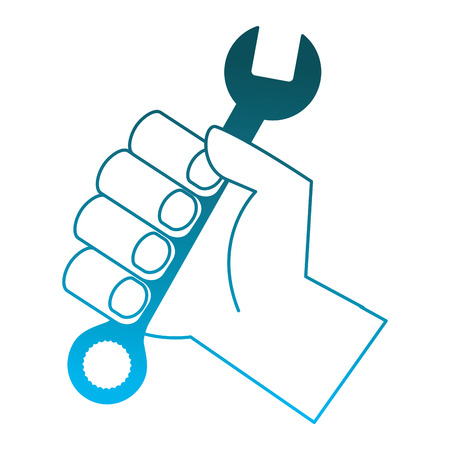 hand holding spanner tool repair vector illustration degraded blue color