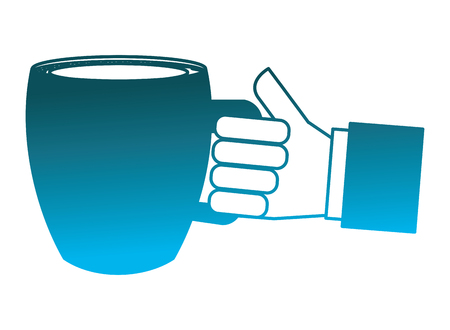 hand holding coffee cup beverage fresh vector illustration degraded blue color