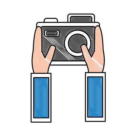 hands holding photo camera device vector illustration drawing Illustration