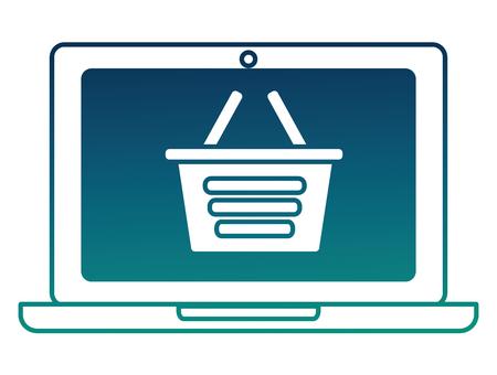 laptop shopping basket online order vector illustration  degraded color  イラスト・ベクター素材