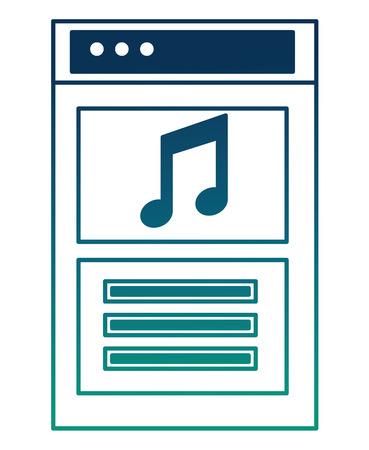 website social media note music sound audio vector illustration  degraded color
