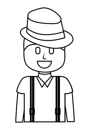 hipster man wearing hat and suspenders vector illustration outline