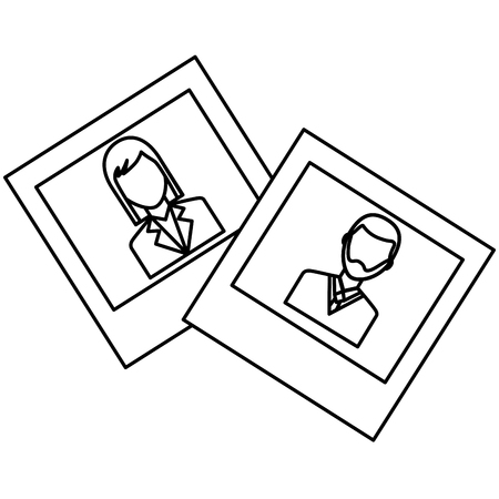 photo gallery man and woman images vector illustration outline Illustration
