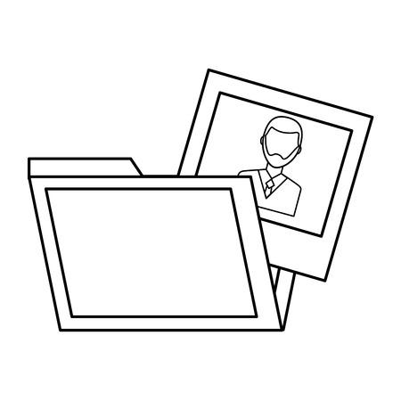 folder and man photo gallery design vector illustration outline Çizim
