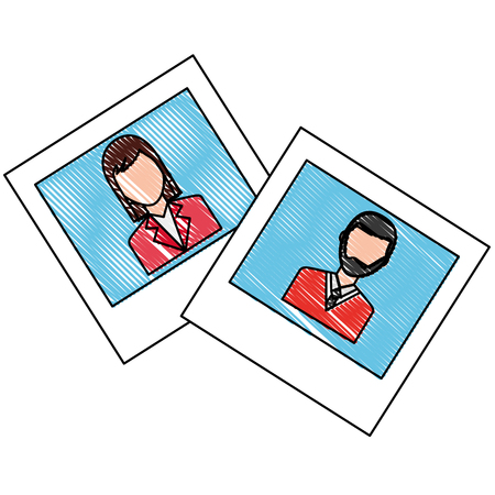 pictures of couple characters vector illustration design